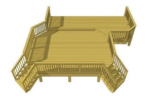 Deck plan- deck ideas- double stairs