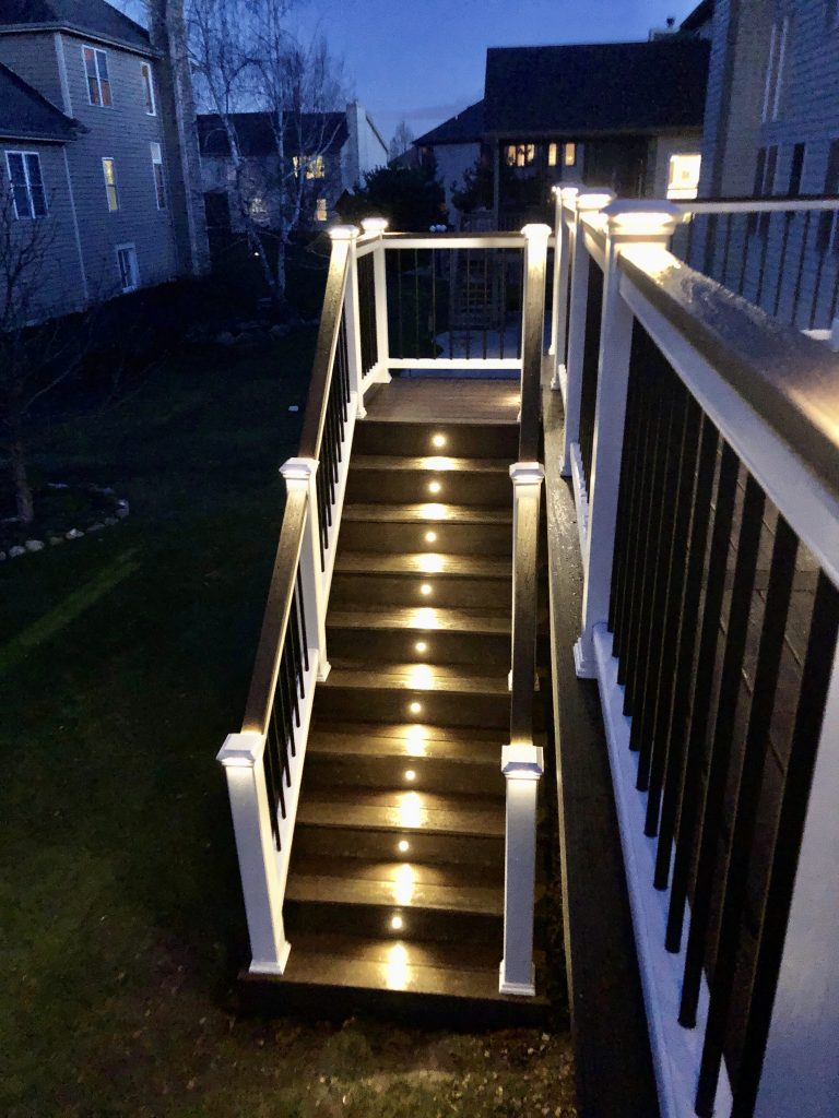 Deck stairs- deck lights- Trex